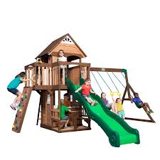 Backyard Discovery Mount Triumph Residential Wood Playset with Swings