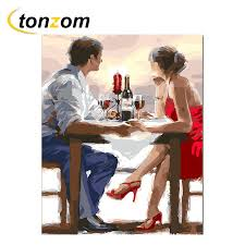 <b>RIHE Couple</b> Dinner Drawing By Numbers DIY Wine Food Painting ...