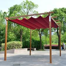 Solar Lights Gazebo Canopy Details About Aleko Yard Outdoor Retractable Pergola With Solar Led Light 10x13 Ft Burgundy
