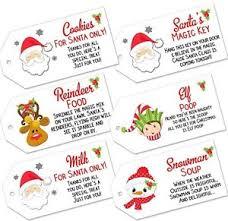 Details About Christmas Labels Magic Reindeer Food Santas Key Milk Snowman Soup Elf Poop Tags