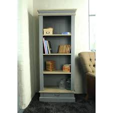farmhouse style grey bookcase with four wooden shelves corner