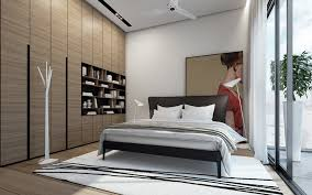 Awesome Bedroom With Oversized Artwork Decor Feat Modern Wall Niche  Bookshelf Also Extra Long Glass Window Curtain