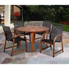 round wood outdoor table. Interesting Wood Amazonia Bahamas Eucalyptus Wood 5Piece Round Patio Dining Set With Outdoor Table N