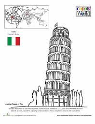 Small Picture Color the World The Leaning Tower of Pisa Pisa Worksheets and