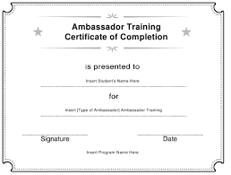 Certificate Of Training Completion Template Ambassador Training Certificate Of Completion Template