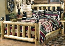 Clean Log Beds Queen Size Bed With Bookcase Headboard Frame Rustic ...