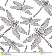 безшовная картина с S Dragonfly предпосылка Dragonfly белизна