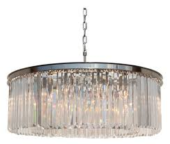 d angelo 12 light round clear glass crystal prism chandelier brushed nickel