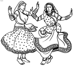 Small Picture Folk Dances of India Coloring Pages Indian Classical Garba