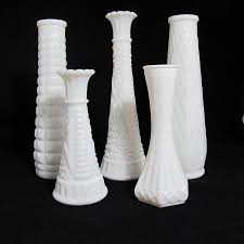 vintage milk glass vases the piper collection set of 5 milk glass vases hand styled collection