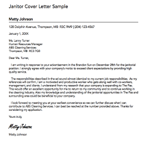 Janitorial Cover Letter Brilliant Janitor Cover Letter Sample