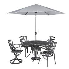Home Styles Largo 42 in 5 Piece Patio Dining Set with Umbrella 5560