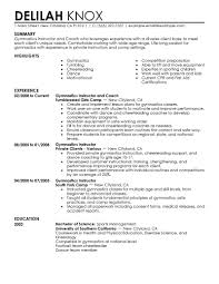 Trainer Resume Sample Best Gymnastics Instructor Resume Example Livecareer Sports Cv 77