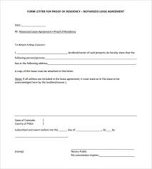 Letter Of Residency Template Proof Of Residency Letter Notarized