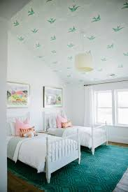 Modern Farmhouse Girlu0027s Bedroom With Bird Print Feature Wallpaper On The  Ceiling.