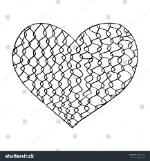 fence drawing. Old Steel Wire Mesh Fence With Heart. Hand Drawing Illustration.