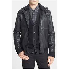 mens michael kors leather jacket