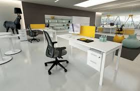 black and white office furniture. Modern Minimalist Office Furniture With White Desk And Black Swivel Chairs: Full Size