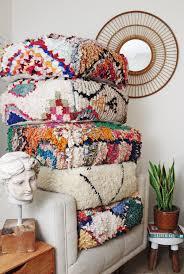 Floor Pillows And Poufs Moroccan Boucherouite Pouf Floor Cushion Rug Pouffe Vintage