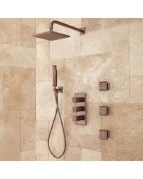 ryle thermostatic shower system with hand and 3 body sprays brushed nickel shower systems body jets s43