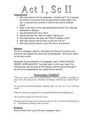 macbeth act scene newspaper task worksheet secondary macbeth act 1 scene 2 newspaper task worksheet