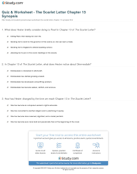 Quiz Worksheet The Scarlet Letter Chapter 13 Synopsis Study Com
