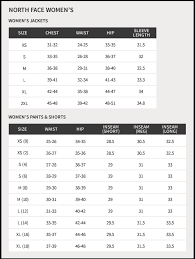Studious The North Face Womens Size Chart North Face Size