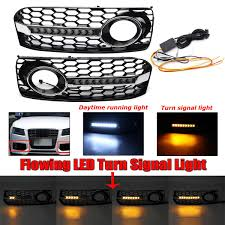 Audi A5 Led Fog Light Bulbs New Honeycomb Mesh Front Grille Grill Cover Flowing Led Fog