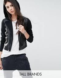 noisy may tall leather look biker jacket with hood black women jackets noisy may leather jacket noisy may tall denim jacket attractive