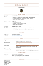 Special Ed Caretaker Resume samples