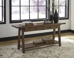 Ashley T863 4 Don Rustic Brown Finish Sofa Table With Two Drawers