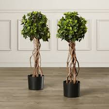 Savrow Solar Lit UV Protected Artificial Topiary Buxus Ball 38cm Artificial Topiary Trees With Solar Lights