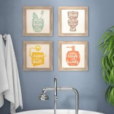 Art for bathroom Canvas floss Flush Wipe Wash Framed Graphic Art Print Set On Wood set Of 4 Wayfair Bath Laundry Wall Art