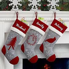 LOVE the colors and design of these personalized Christmas Stockings! The  Red and Grey embroidered