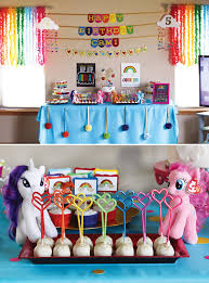 rainbow my little pony birthday party dessert table and cake pops