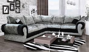 crushed velvet large corner sofa black and silver prev next