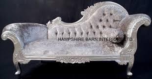 Silver Leaf Bedroom Furniture Medium French Chaise Longue Silver Leaf Mercury Grey Crystal Sofa