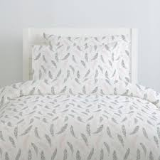 blush pink and silver gray hand drawn feathers duvet cover