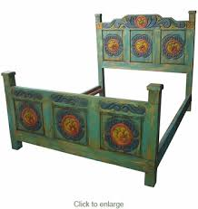 painted mexican furniturePainted Wood Carved Flower Bed  Three Sizes  Mexican Bedroom