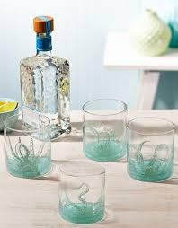 twos company octopus double old fashioned glasses set of 4 w sayings