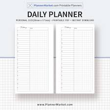 Personal Planner Template Daily Planner Daily Schedule Daily Organizer Personal Size Printable Planner Inserts Planner Refills Planner Design