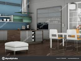 Illustration Une Cuisine Moderne Grise Dans Loft Avec Beau Design
