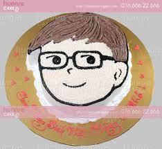Bánh gato sinh nhật vẽ hình chibi bạn trai đeo kính cute 2966 - Bánh sinh  nhật, kỷ niệm