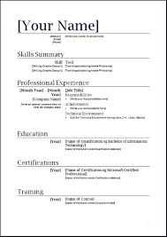 Sample Resumes In Word The Basic Resume Template My Chelsea Club