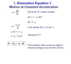 2 a ΔvΔv ΔtΔt 1 kinematics equation