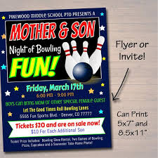Bowling Event Flyer Editable Mother Son Bowling Flyer Ticket Set School Dance