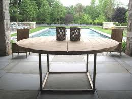 attractive circular outdoor table round wooden outdoor table munder skiles via gardenista