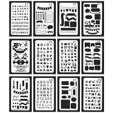 ステンシル 図面 テンプレート 描画ツール 塗り絵 製図用品 手帳用 教育