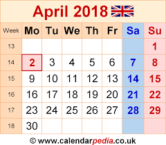 april calendar calendar april 2018 uk bank holidays excel pdf word templates