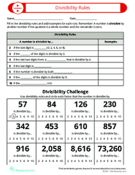 Divisibility Rules Chart Pdf Divisibility Rules Lesson Plan Education Com Lesson